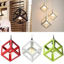 modern e27 metal cube ceiling pendant