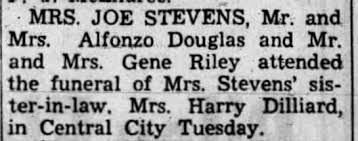 Note about Myrtle Stevens' Perkins' death (mother of Mrs. Harry Dillard).  This was a mis-print. - Newspapers.com