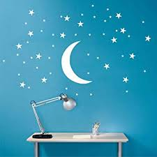 Amazon Com 50 Stars And Large Moon Wall Stickers For Kids Room Creative White Stars Baby Wall Decals Nursery Wall Art Decor Mural D857 White Arts Crafts Sewing