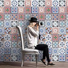Amazon Com 25pcs Self Adhesive Tile Art Wall Decal Sticker Diy Kitchen Bathroom Decor Vinyl Vintage Removable Sticker A Beauty