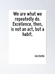 We Are What We Repeatedly Do Excellence Then Is Not An Act But A Habit Poster By Terrificpenguin Redbubble