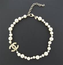 pearl cc pendant costume necklace