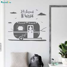 Let S Travel The World Caravan Wall Sticker Bedroom Decals Home Decoration Art Murals Vinyl Happy Journey Removable Yt1943 Wall Stickers Aliexpress