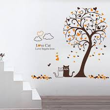 Cartoon Loving Cat Under Tree Wall Art Mural Decor Removable Pvc Art Decal Living Room Sofa Background Wallpaper Decoration Mario Wall Stickers Mirror Wall Decals From Magicforwall 2 51 Dhgate Com