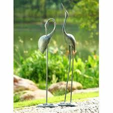 crane pair garden bird statue