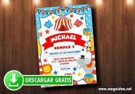 Tarjeta De Invitacion Circo Para Imprimir Gratis Mega Idea