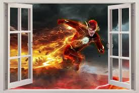 Amazon Com The Flash 3d Window Decal Wall Sticker Home Decor Art Mural Marvel H754 Large Home Kitchen