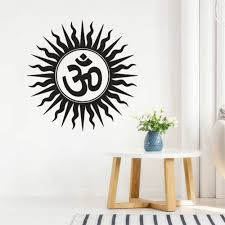 Wall Stickers Om Hindu Religious India Sanskrit Symbol Wall Decal Home Bedroom Decoration Removable Vinyl Yoga Wall Mural Ay306 Wall Stickers Aliexpress