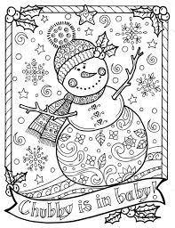 Sneeuwpop Kleurplaat Chubby Kerst Volwassen Kleur Vakantie Etsy