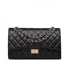 quilted lambskin leather double flap