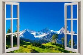Alps Mountains 3d Window View Decal Wall Sticker Decor Art Mural Scenic View Ebay