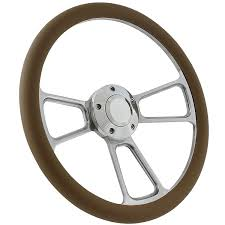 Ezgo Golf Cart Steering Wheel Kit 14 Polished Muscle Steering Wheel Tan Half Wrap Walmart Com Walmart Com