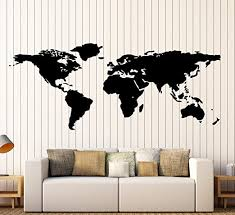 Amazon Com World Map Outline Continents Country Nations Europe Asian Africa Mural Wall Art Decor Vinyl Sticker P017 Home Kitchen