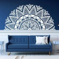 Half Mandala Headboard Wall Decal Zen Decor Lotus Flower Etsy