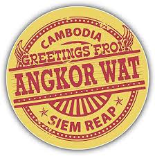 Amazon Com Angkor Wat Cambodia Greetings Label Window Truck Car Bumper Sticker Decal 5 X 5 Home Kitchen