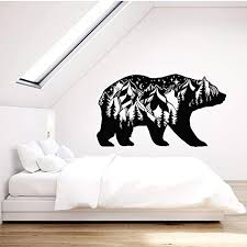 Amazon Com Wall Stickers Murals Forest Animal Bear Vinyl Wall Decal Silhouette Landscape Mountains Stickers Removable Art Mural For Bedroom Window Decor 42x73cm Kitchen Dining