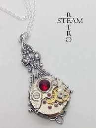 steampunk victorian red pendant
