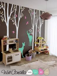 Large Set Of Nursery Trees With Birds And Deer Wall Tree Decalswallconsilia Com