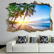 Caribbean Tropical Beach Sunset Wall Art Sticker Mural Decal With 3d Effect Fs2 Ebay