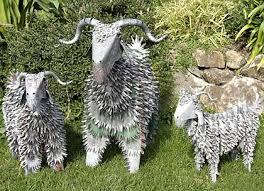 corrugated iron art animals sheep