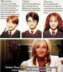 j k rowling s opinions on the trio harry potter cast harry