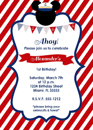 Nautical Mickey Mouse Birthday Invitation Por Lovelifeinvites