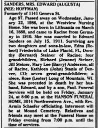 Augusta Hoffman Sanders Obituary - Newspapers.com