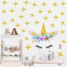 Cartoon Cute Flower Unicorn Gold Stars Wall Sticker Wallpaper Diy Vinyl Home Wall Decal Kid Living Room Bedroom Girls Room Decor Wall Stickers Aliexpress