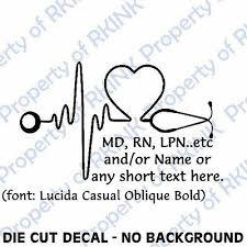 Personalized Heartbeat Stethoscope 2 Md Rn Vinyl Decal Wall Car Window Office