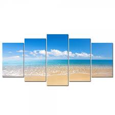 5 panels framed wall art bule ocean