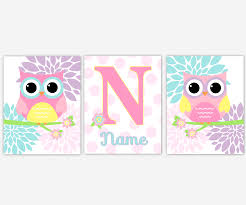 Owl Baby Girl Nursery Wall Art Pink Aqua Lavender Purple Teal Yellow Personalized Name Art Owl Baby Nursery Wall Decor Baby Nursery Decor Girl Room Wall Art Owl Nursery Art Set Of