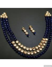 royal blue beads kundan necklace set