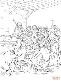 Kerststal Met De Heilige Familie Herders En Dieren Kleurplaat