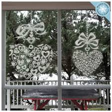 11 6 Valentines Wedding Bridal Heart Window Clings With Bows Window Flakes