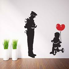 Banksy Trycicle Cop Police Guard And Ballon Girl Vinyl Wall Art Decal