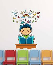 Kids Book Reading Wall Stickers Vinyl Decal Mural Home Decor Removable Ebay