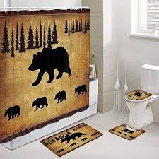 jawo black bear fabric shower curtain