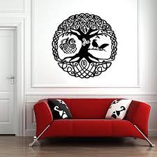 Amazon Com Vinyl Sticker Scandinavian Mythology World Tree Yggdrasil Ravens Runes Mural Decal Wall Art Decor Eh1557 Handmade