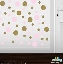 Baby Pink Metallic Gold Polka Dot Circles Wall Decals Polka Dot Circles Decalvenue Com Decal Venue
