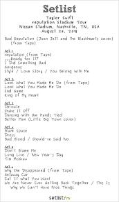 taylor swift retion tour setlist