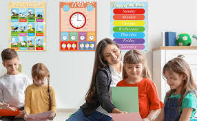 Amazon Com Educational Posters Kids Learning Charts 12 Pcs Preschool Education Posters Perfect For Homeschool Preschool Learning Kindergarten Alphabet Numbers Posters For Children Educational Posters Office Products