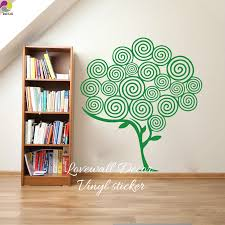 Cartoon Swirl Tree Wall Sticker Baby Nursery Living Room Large Tree Branch Leaf Plant Nature Wall Decal Kids Room Vinyl Decor Nature Wall Decals Tree Wall Stickerwall Stickers Baby Nursery Aliexpress