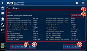 viewing dtc freeze frame data alldata