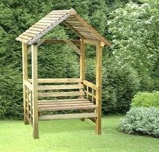 garden bench with arch metal seat teak