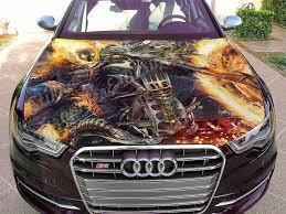 Amazon Com Stikka Vinyl Car Hood Wrap Full Color Graphics Decal Ghost Rider Sticker 33 5 X55 85cm X 140cm Automotive
