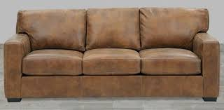 distressed brown top grain leather sofa