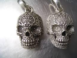 sugar skull pendant silver