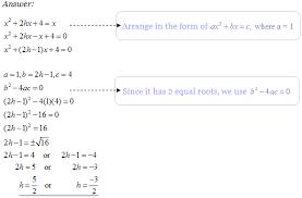 quadratic equations perfect maths