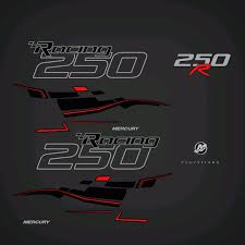 2006 2018 Mercury Racing 250r Verado 4s Decal Set Black Models Red Flat Vinyl Decals