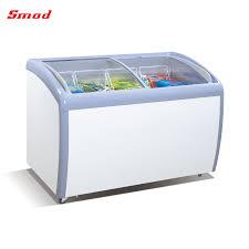commercial freezer curved glass door